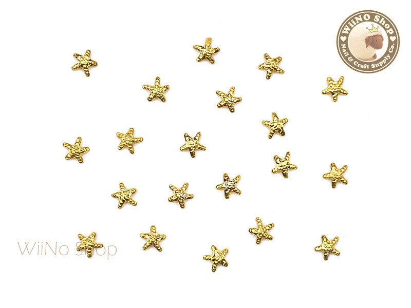 3mm Gold Starfish Metal Studs - 10 pcs