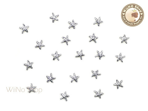 3mm Silver Starfish Metal Studs - 10 pcs