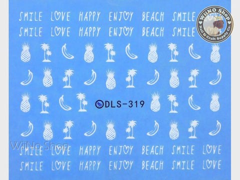 White Banana Pineapple Palm Tree Water Slide Nail Art Decals - 1 pc (DLS-319)