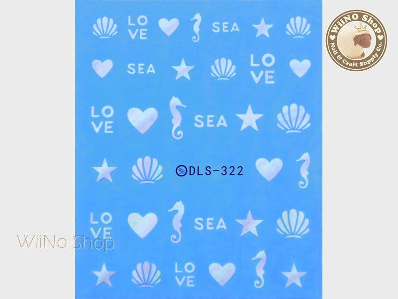 Gradient Seashell Seahorse Water Slide Nail Art Decals - 1 pc (DLS-322)