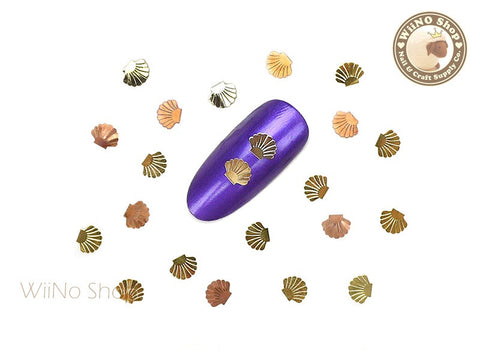 Gold Scallop Seashell Ultra Thin Metal Decoration Nail Art - 25 pcs