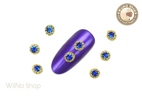 Gold Round with Blue Crystal Nail Metal Charm - 2 pcs