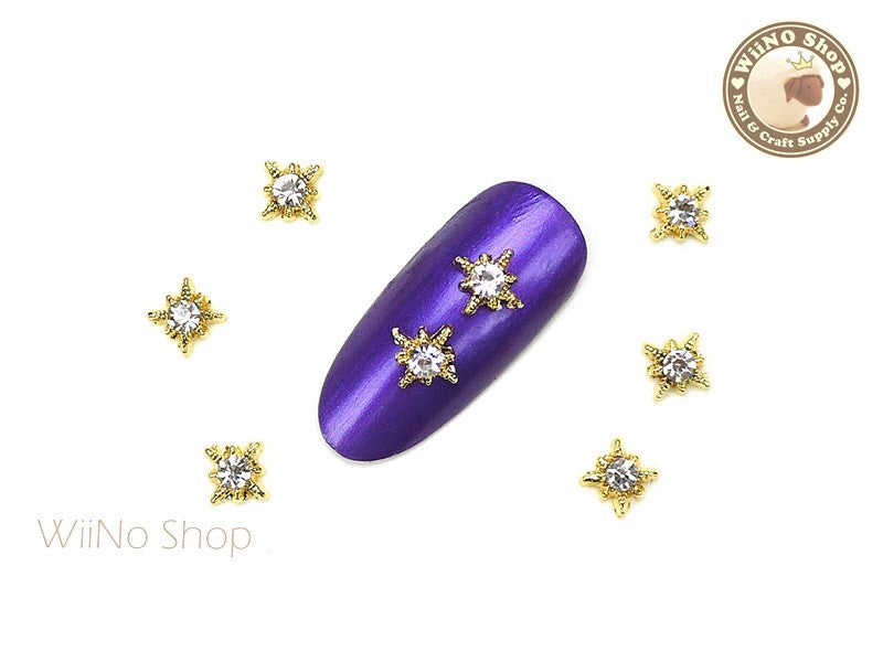 Gold Shine Star with Clear Crystal Nail Art Metal Charm - 2 pcs