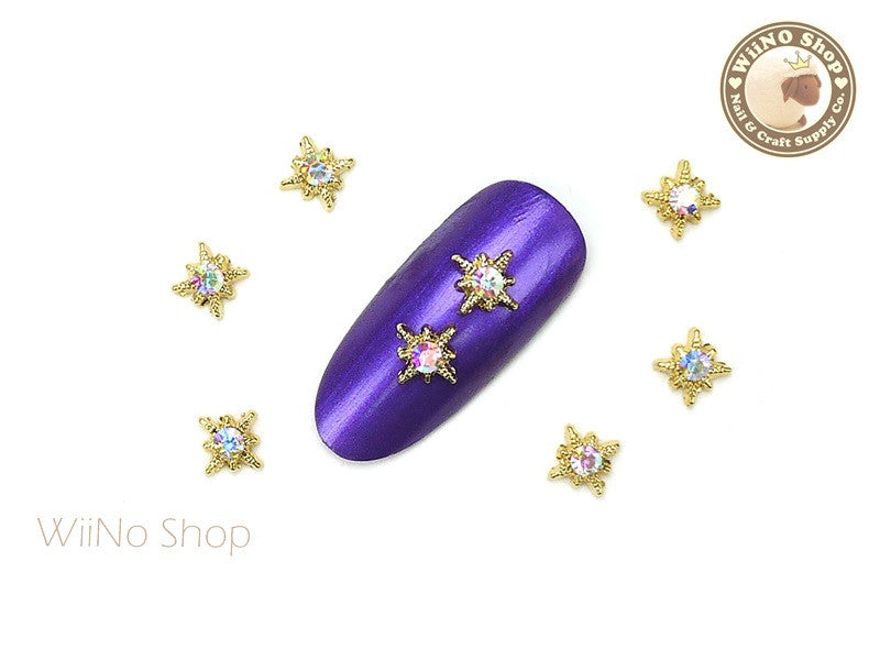 Gold Shine Star with AB Clear Crystal Nail Metal Charm - 2 pcs