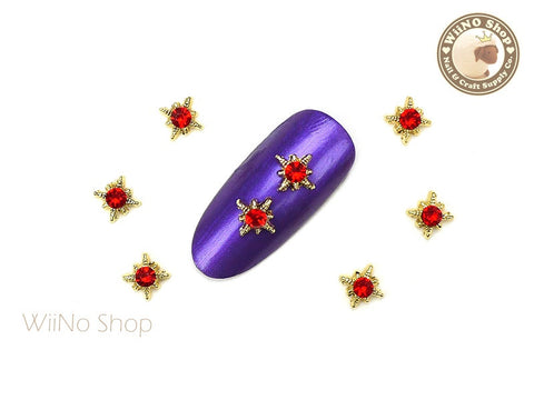 Gold Shine Star with Red Crystal Nail Metal Charm - 2 pcs