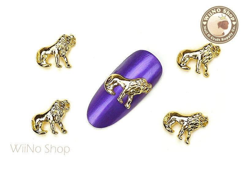 Gold Lion Nail Metal Charm - 2 pcs