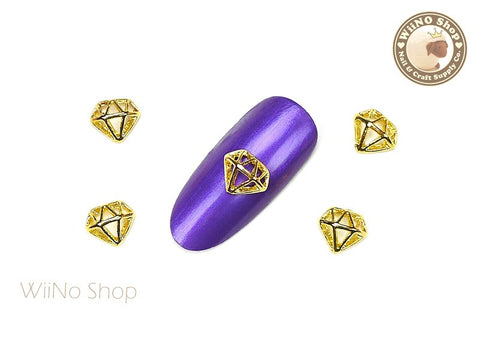 Gold Hollow Diamond Nail Metal Charm - 2 pcs