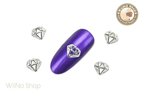 Silver Hollow Diamond Nail Metal Charm - 2 pcs