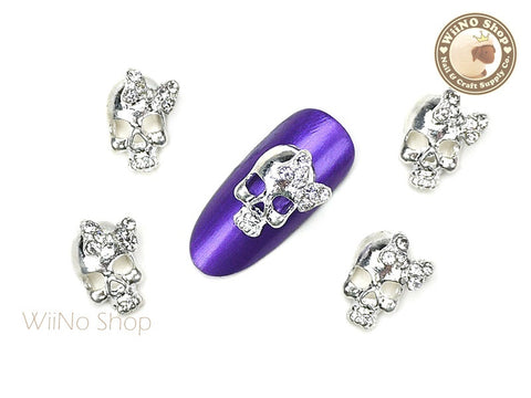 Silver Skull with Crystal Bow Nail Metal Charm Nail Art - 2 pcs
