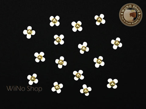 White Four Petal Flower Nail Charm Nail Art - 5 pcs
