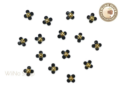 Black Four Petal Flower Nail Charm Nail Art - 5 pcs