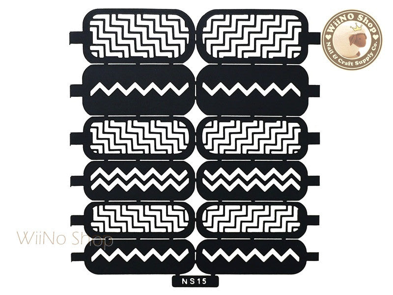 Chevron Pattern Nail Stencil - 1 pc (NS15)