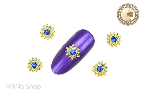 Gold Pattern Sun with Blue Crystal Nail Art Metal Charm - 2 pcs