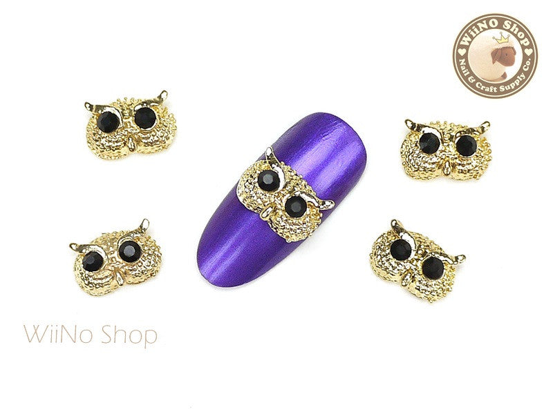 Gold Owl Head Nail Metal Charm Nail Art - 2 pcs