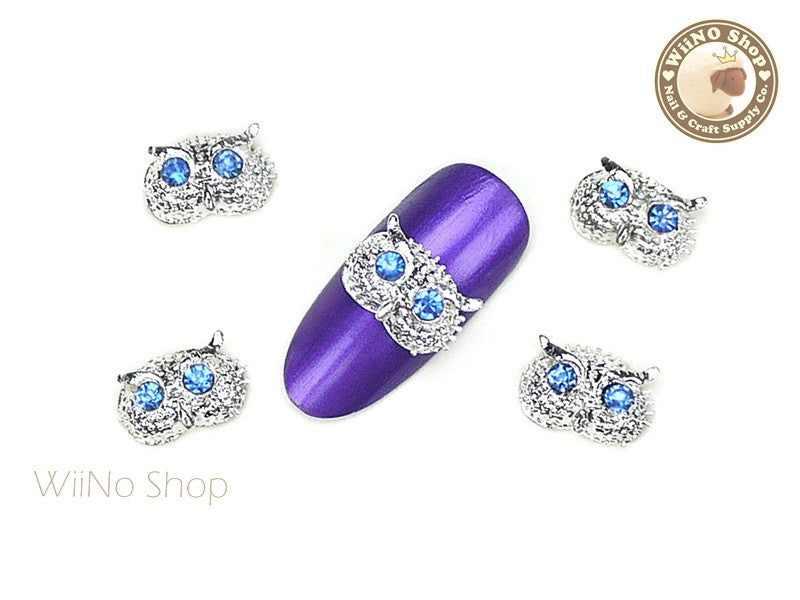 Silver Owl Head Nail Metal Charm Nail Art - 2 pcs