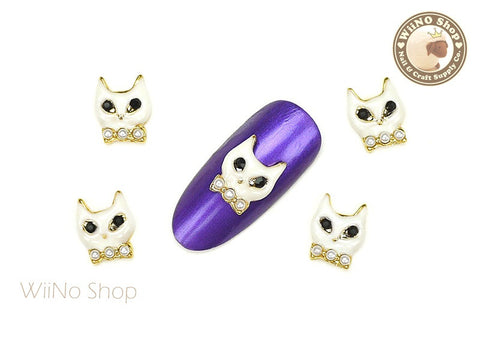 White Cat Nail Metal Charm Nail Art - 2 pcs