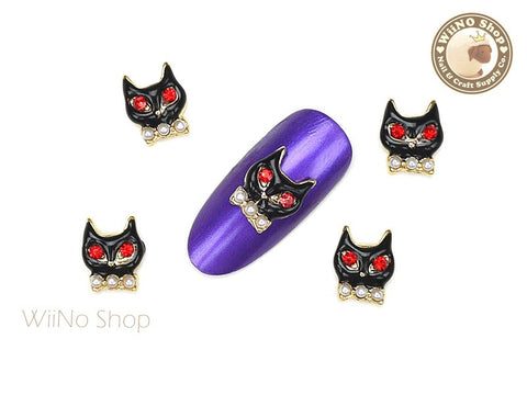 Black Cat Nail Metal Charm Nail Art - 2 pcs