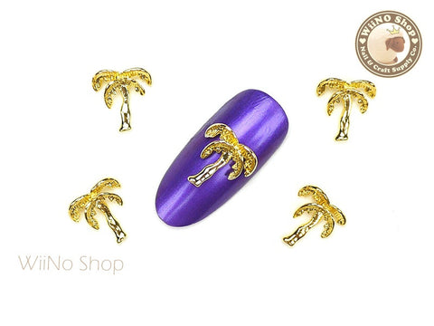Gold Palm Tree Nail Metal Charm Nail Art - 2 pcs