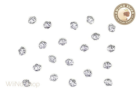 Silver Mini Cockle Seashell Metal Studs - 10 pcs