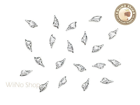 Silver Mini Tulip Seashell Metal Studs - 10 pcs