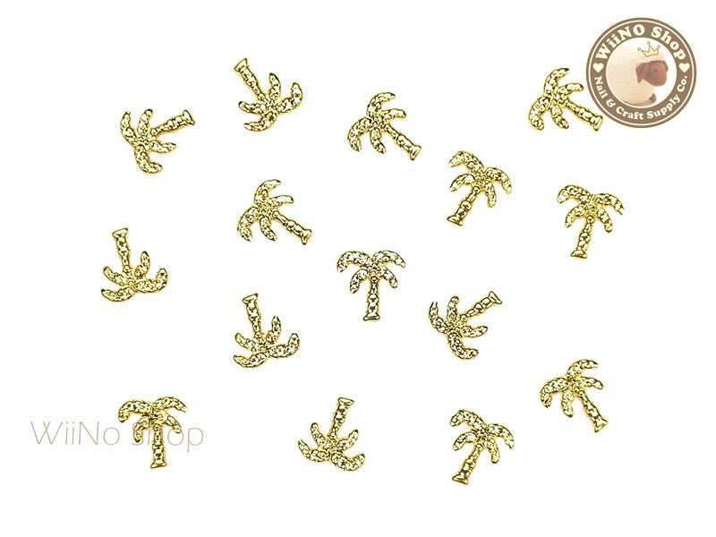 Gold Large Palm Tree Metal Studs - 10 pcs