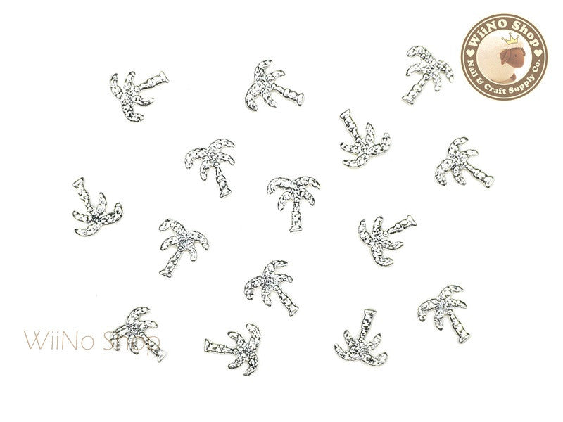 Silver Large Palm Tree Metal Studs - 10 pcs
