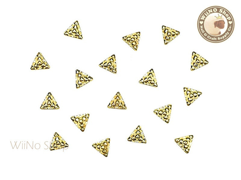 Gold Pyramid Block Metal Studs - 10 pcs