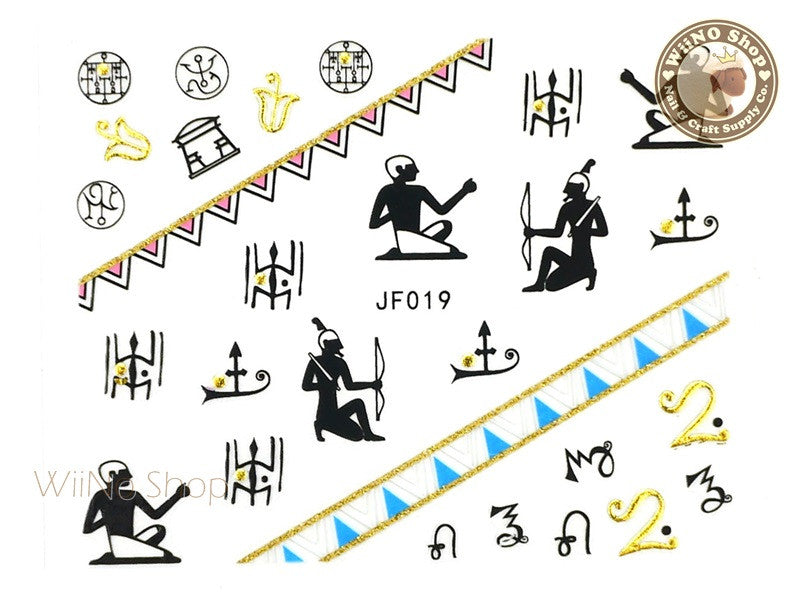 JF019G Gold Egyptian Symbols Adhesive Nail Art Sticker - 1 pc