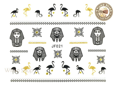 JF021G Gold Egyptian Symbols Adhesive Nail Art Sticker - 1