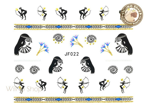JF022G Gold Egyptian Symbols Adhesive Nail Art Sticker - 1