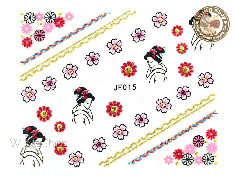 JF015G Gold Japanese Geisha Adhesive Nail Art Sticker - 1 pc