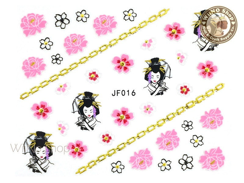 JF016G Gold Japanese Geisha Adhesive Nail Art Sticker - 1 pc