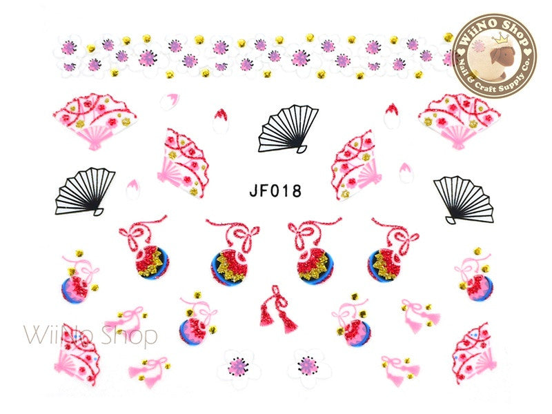 JF019G Gold Japanese Cherry Blossom Fan Adhesive Nail Art Sticker - 1 pc