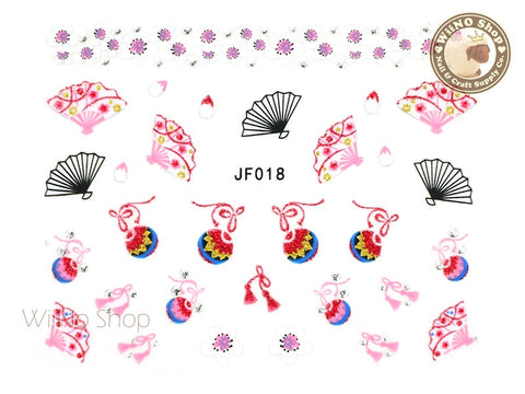 JF019S Silver Japanese Cherry Blossom Fan Adhesive Nail Art Sticker - 1 pc