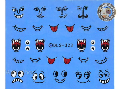 Halloween Face Water Slide Nail Art Decals - 1pc (DLS-323)