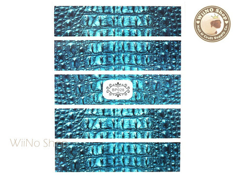 Blue Crocodile Skin Pattern Adhesive Nail Art Sticker - 1 pc (BP028)