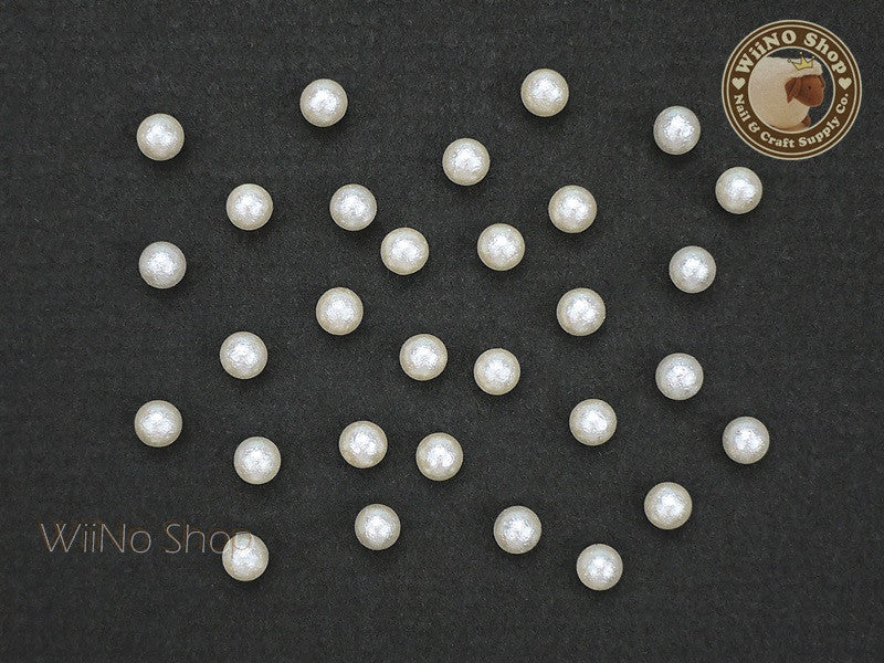 4mm Ivory Cotton Pearl Beads Nail Art Decoration (No Hole) - 10 pcs