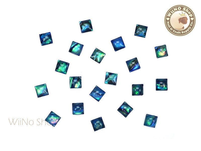4mm Turquoise Natural Seashell Square Cabochon - 10 pcs