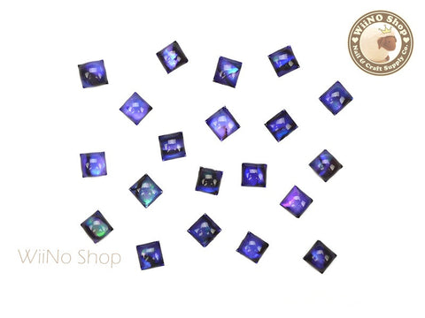 4mm Purple Natural Seashell Square Cabochon Nail Art - 10 pcs