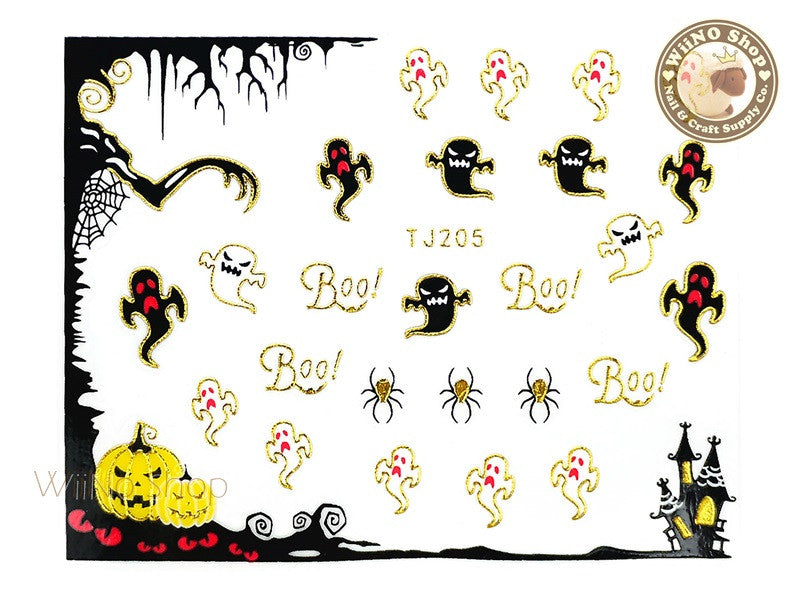 TJ205 Gold Halloween Ghost Adhesive Nail Art Sticker - 1 pc