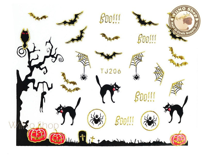 TJ206 Gold Halloween Ghost Adhesive Nail Art Sticker - 1 pc