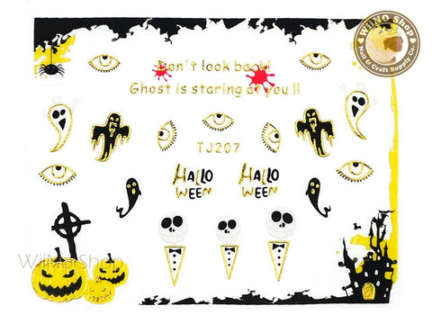TJ207 Gold Halloween Ghost Adhesive Nail Art Sticker - 1 pc