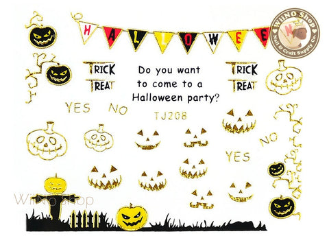 TJ208 Gold Halloween Ghost Adhesive Nail Art Sticker - 1 pc