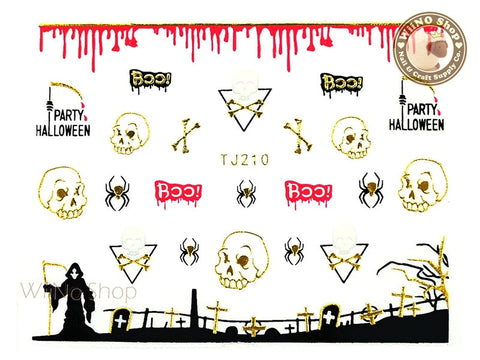 TJ210 Gold Halloween Ghost Adhesive Nail Art Sticker - 1 pc