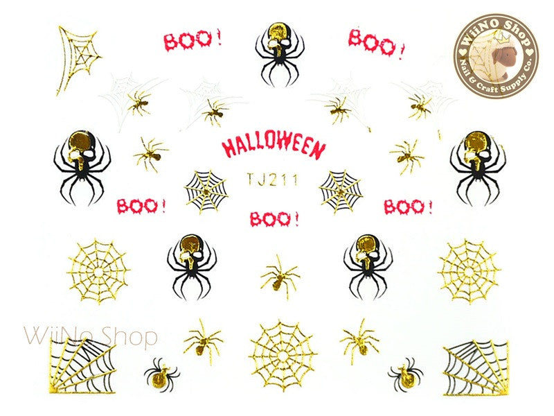 TJ211 Gold Halloween Ghost Adhesive Nail Art Sticker - 1 pc