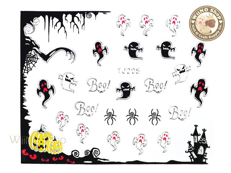 TJ205 Silver Halloween Ghost Adhesive Nail Art Sticker - 1 pc