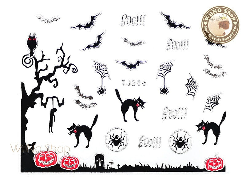 TJ206 Silver Halloween Ghost Adhesive Nail Art Sticker - 1 pc