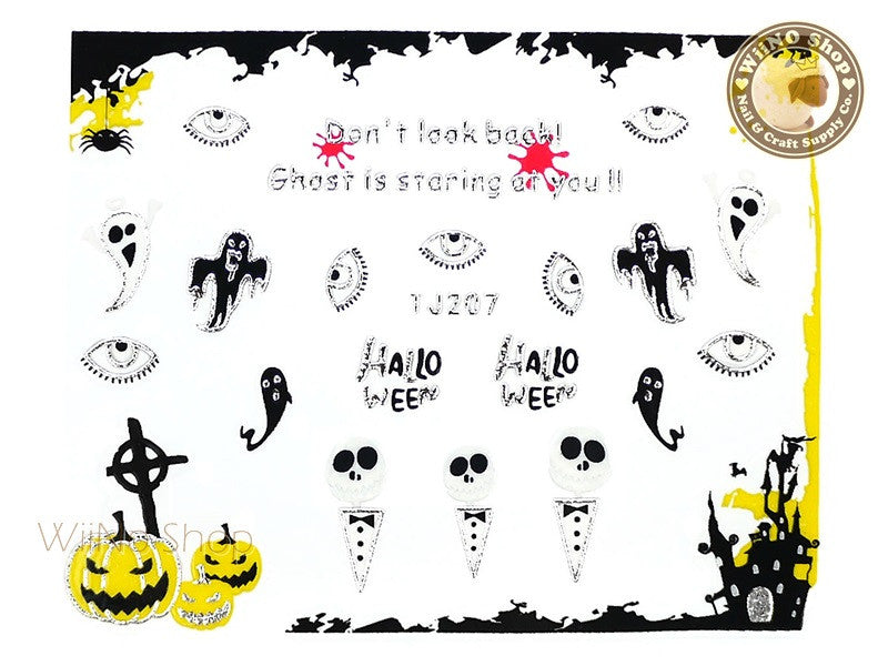 TJ207 Silver Halloween Ghost Adhesive Nail Art Sticker - 1 pc