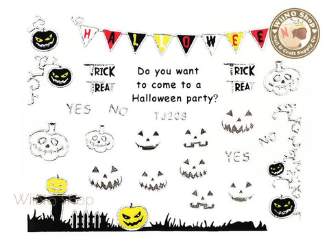 TJ208 Silver Halloween Ghost Adhesive Nail Art Sticker - 1 pc