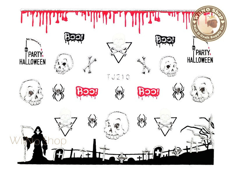 TJ210 Silver Halloween Ghost Adhesive Nail Art Sticker - 1 pc
